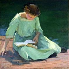 The Green Dress. Elanor Colburn (American, 1866-1939). Colburn studied with William Merritt Chase and Frank Duveneck and attended the Art Institute of Chicago, where she later taught. Moving to Laguna Beach from Chicago around 1924, Elanor Colburn...