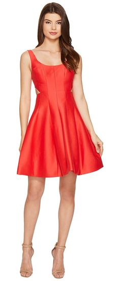 Halston Heritage Sleeveless Scoop Neck Silk Faille Dress w/ Cut Outs (Poppy) Women's Dress - Halston Heritage, Sleeveless Scoop Neck Silk Faille Dress w/ Cut Outs, SFT152037-840, Apparel Top Dress, Dress, Top, Apparel, Clothes Clothing, Gift, - Street Fashion And Style Ideas