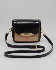 Check Small Crossbody Bag, Black by Burberry at Neiman Marcus.