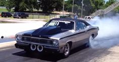 1970 Plymouth Duster Twin Supercharged Brutal Mopar muscle car that currently puts out over 1400 horse power. Double click to see the video
