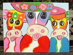 Schilderij Vrolijke koeien, acrylverf op doek 80 x 60 cm.