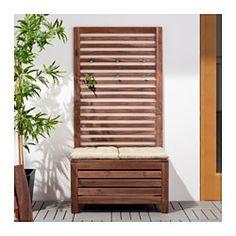 IKEA - ÄPPLARÖ, Banco+panel prd exter, Para prolongar la duración y conservar el aspecto natural de la madera, el mueble ha sido tratado con varias capas de barniz para madera semitransparente.