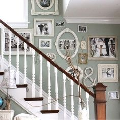 Make your own unique way to hang picture frames on the staircase wall. The size of the picture frames does not matter either. You can add all different frame type of frames together just make sure there is only one color scheme. Add as many different style of picture frames you like on the same staircase wall also.