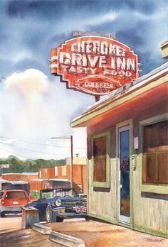 i love mark millet! Cherokee Drive Inn, Jackson Mississippi (by Mark Millet) Southern Comfort, Southern Belle, Southern Charm, Southern Living, Jackson Mississippi, Mississippi Delta, Love Neon Sign, Neon Signs, Garden Spells