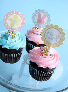 cupcake toppers | Easter Bunny Cupcake Toppers from Skip to my Lou .