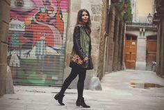 Leather Jacket Khaki Vest Black Booties
