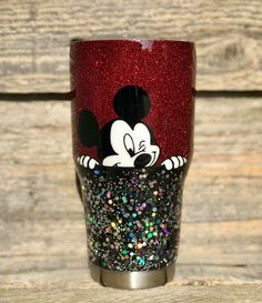 Love the colors Disney Cups, Disney Diy, Disney Crafts, Diy Tumblers, Custom Tumblers, Glitter Tumblr, Tumblr Cup, Cup Crafts, Custom Cups