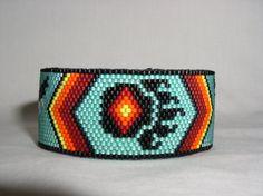 Bear Paw Native American Beaded Cuff Bracelet | by butterflysbeadhive