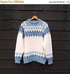 Summer SALE 70's Norwegian Sweater, Vintage Fair Isle Sweater, Blue + Ivory Snowflake Wool Sweater, Norlander Nordic Icelandic Sweater Overs
