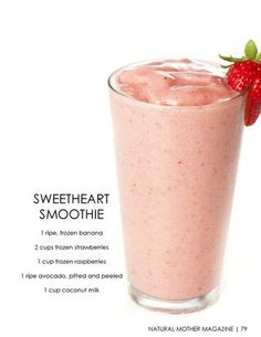 Sweetheart Smoothie -- 1 ripe frozen banana, 2 cups frozen strawberries, 1 cup frozen raspberries, 1 ripe avocado (pitted and peeled), 1 cup coconut milk -- mix until well-blended. Fruit Smoothies, Healthy Smoothies, Smoothie Recipes, Healthy Snacks, My Funny Valentine, Valentines Day Food, Yummy Drinks, Yummy Food, Creative Food