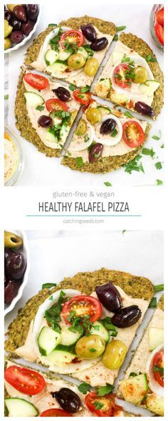 This gluten free vegan Falafel Pizza is a huge falafel crust topped with Mediterranean condiments! This healthy recipe is an inventive way to enjoy all your favorite falafel sandwich flavors. | CatchindSeeds.com
