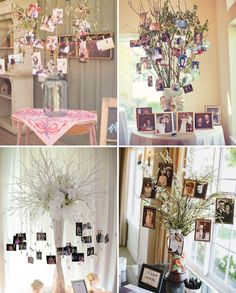 15 Ways to Display Photos At Your Wedding Whether the photos are of the bride and groom, or of lost loved ones, guests love to see photos. Here are some of our favorite ways to display photos! 50th Wedding Anniversary Decorations, 15th Wedding Anniversary, Bridal Shower Decorations, Wedding Reception Decorations, Tree Branch Centerpieces, Tree Branch Decor, Photo Displays, Display Photos, Picture Tree