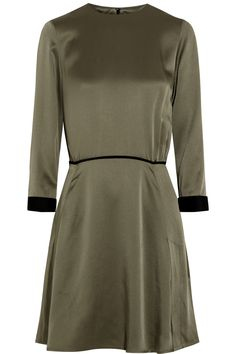 Victoria, Victoria Beckham Satin dress in olive khaki and contrasting black. Perfect little dress for Fall, pair with some black Chelsea boots and tights.
