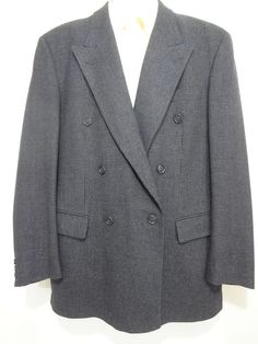 Hugo Boss Charcoal Gray Herringbone DB Wool Cashmere Suit 40 R Pants 32 x 32 #HUGOBOSS #DoubleBreasted