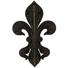 """Iron fleur-de-lis wall decor.        Product: Wall décor  Construction Material: IronColor: Rustic black  Dimensions: 23.75"""" H x 15.5"""" W x 2.25"""" D"""