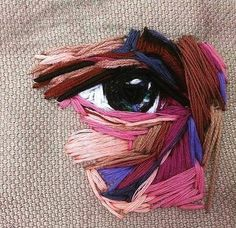 Ideas Embroidery Fabric Texture Needlework For 2019 Hand Embroidery Stitches, Embroidery Fabric, Embroidery Techniques, Fabric Art, Cross Stitch Embroidery, Embroidery Designs, Embroidery Sampler, Eyes Artwork, Textile Artists