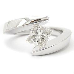 Princess Cut Tension Set Solitaire Diamond Engagement Ring TP66