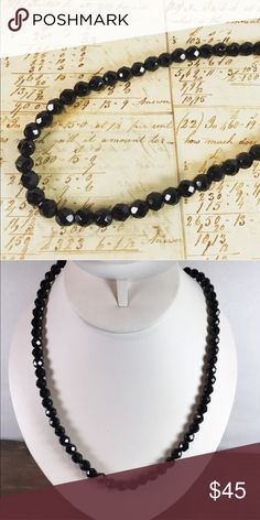 Vintage long black faceted glass beaded necklace vintage black faceted glass beaded necklace.  Measures 27 inches in length  Perfect for a night on the town  From a pet and smoke free location  Box2 Vintage Jewelry Necklaces