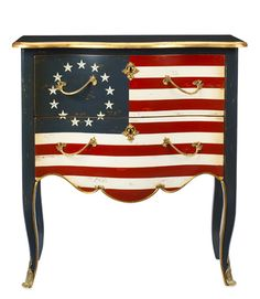 Fun table/dresser. Great take on the current trend of using the Union Jack to decorate. I like the use of the early flag for a vintage vibe.