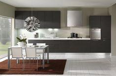 Modern kitchen - simple dark wood texture cabinets