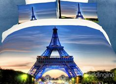 Eiffel Tower Oil Painting 3D Print Duvet Cover 4 piece Bedding sets  (10529175)
