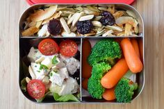 Another lunch/snack on the go idea.  Looks delicious.  chicken salad, trail mix and raw veggies.