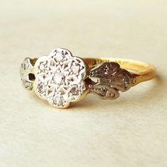 Art Deco Flower & Leaves Diamond Ring, 1920's Diamond Platinum and 18k Gold Engagement Ring Size US 7.25