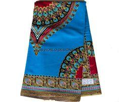 Blue Dashiki Peacock African Fabric/ for by TessWorldDesigns