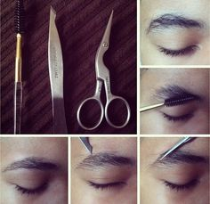 Male Brow Grooming Tutorial using Tweezerman Brow Shaping Scissors and Brush and Pointed Slant Tweezer Men Eyebrows Grooming, Guys Eyebrows, Eyebrow Grooming, Male Grooming, Men's Grooming, Makeup Lessons, Male Makeup, Brow Shaping, Best Eyebrow Products