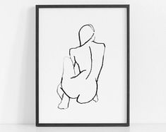 Fine Art Prints Printable Wall Art for by ThePeoplesPrints Minimal Drawings, Simple Line Drawings, Modern Art Prints, Fine Art Prints, Large Prints, White Prints, Figure Drawing Female, Figure Drawings, Botanical Line Drawing