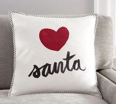 Love Santa Print Pillow Cover | Pottery Barn
