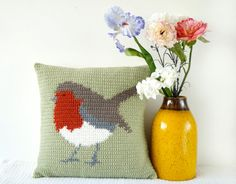 Robin Cushion Crochet Pattern Pillow Wildlife PDF Tutorial Woodland Forest Green…