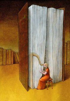Cada libro tiene su propia música, escucha como suena (ilustración de Pawel Kuczynski)