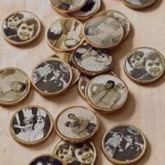 Family pictures printed on stickers on gold chocolate coins... Anniversary etc idea