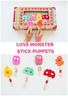 Make Love Monster Stick Puppets with Free Printable. Cute Valentine's Day craft for kids.