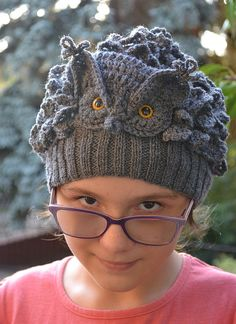 great horned owlGray Owl Crocheted knitted gray owl by DosiakStyle