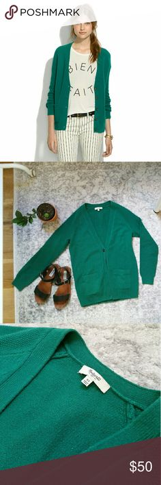 madewell | journal cardigan Merino wool  Gem beetle green color  Tortoise shell color buttons  Two pockets Madewell Sweaters Cardigans