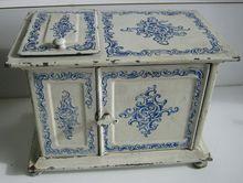 German Antique doll house tin miniature Kitchen Bing blue & white ice box