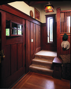 Many millwork manufacturers were inspired by original Arts & Crafts doors, such as this one with an operating casement window. (Photo: Doug Keister)