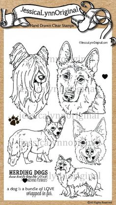 JessicaLynnOriginal AKC Dog : Herding DOG CLEAR STAMP { Briard, german shepherd , Pembroke Welsh Corgis , Border Collie, and Australian Cattle Dog } - JessicaLynnOriginal, LLC
