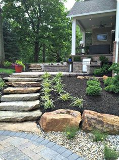 Landscaping On A Hill, Large Backyard Landscaping, Cheap Landscaping Ideas, Landscaping With Rocks, Backyard Ideas, Landscaping Software, Backyard Decorations, Privacy Landscaping, Patio Steps