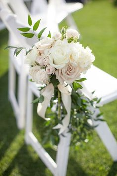 Chair Décor - Italian Ruscus, Blush & Pink Spray Roses, White Roses & White Hydrangeas