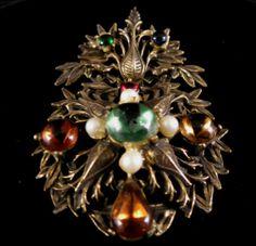 Vintage Brooch Wonderful Antiqued Gold Tone Cabochon Dangle   eBay