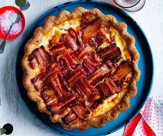 Australian Gourmet Traveller recipe for bacon and tomato polenta-crust pie. Polenta Recipes, Bacon Recipes, Pie Recipes, Gourmet Recipes, Cooking Recipes, Fancy Recipes, Rhubarb Recipes, Pastry Recipes, Empanadas