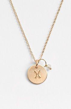 Women's Nashelle 14k-Gold Fill & Semiprecious Birthstone Zodiac Mini Disc Necklace - 14k Gold Fill Pis