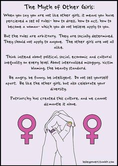 Saying your not like other girls is not bad. The patriarchy isn't giving you that mindset. Don't let the SJWs control the way you think.