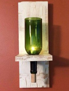 "My husband made this wine bottle sconce out of a board that I practiced my ""crackle"" technique on before working on a larger project. Cutting Wine Bottles, Empty Wine Bottles, Wine Bottle Candles, Lighted Wine Bottles, Recycled Bottles, Bottle Lights, Diy Bottle, Wine Bottle Crafts, Bottle Art"