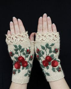 Knitted Fingerless Gloves, Gloves & Mittens, Gift Ideas, For Her, Winter Accessories, Ivory, Roses, Mother's Day Gifts,Fashion, Accessories