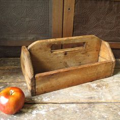 Grandpa's Simple Old Hand Carved Wooden Barn Tote Carrier