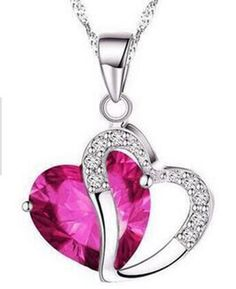 bec368ae23c1b 6 colors Top Class lady fashion heart pendant necklace amethyst crystal  jewelry for girls